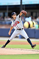 Rome Braves starting pitcher Ian Anderson (19) delivers a pitch during a game against the Asheville Tourists at McCormick Field on July 27, 2017 in Asheville, North Carolina. The Braves defeated the Tourists 6-3. (Tony Farlow/Four Seam Images)