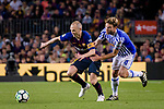 Andres Iniesta of FC Barcelona (L) in action against Asier Illarramendi Andonegi of Real Sociedad (R) during the La Liga match between Barcelona and Real Sociedad at Camp Nou on May 20, 2018 in Barcelona, Spain. Photo by Vicens Gimenez / Power Sport Images