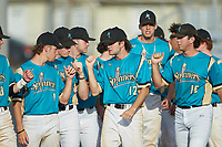 Max LeCroy (12) (Lenoir Rhyne) of the Mooresville Spinners bumps fists with teammates during player introductions prior to the game against the Lake Norman Copperheads at Moor Park on July 6, 2020 in Mooresville, NC.  The Spinners defeated the Copperheads 3-2. (Brian Westerholt/Four Seam Images)