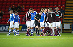 St Johnstone v Hearts..15.12.12      SPL.Darren Barr gets booked after hsi push on Paddy Cregg.Picture by Graeme Hart..Copyright Perthshire Picture Agency.Tel: 01738 623350  Mobile: 07990 594431