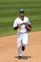 Beloit Snappers outfielder Victor Victor Mesa (5) during a game against the Quad Cities River Bandits on July 18, 2021 at Pohlman Field in Beloit, Wisconsin.  (Brad Krause/Four Seam Images)