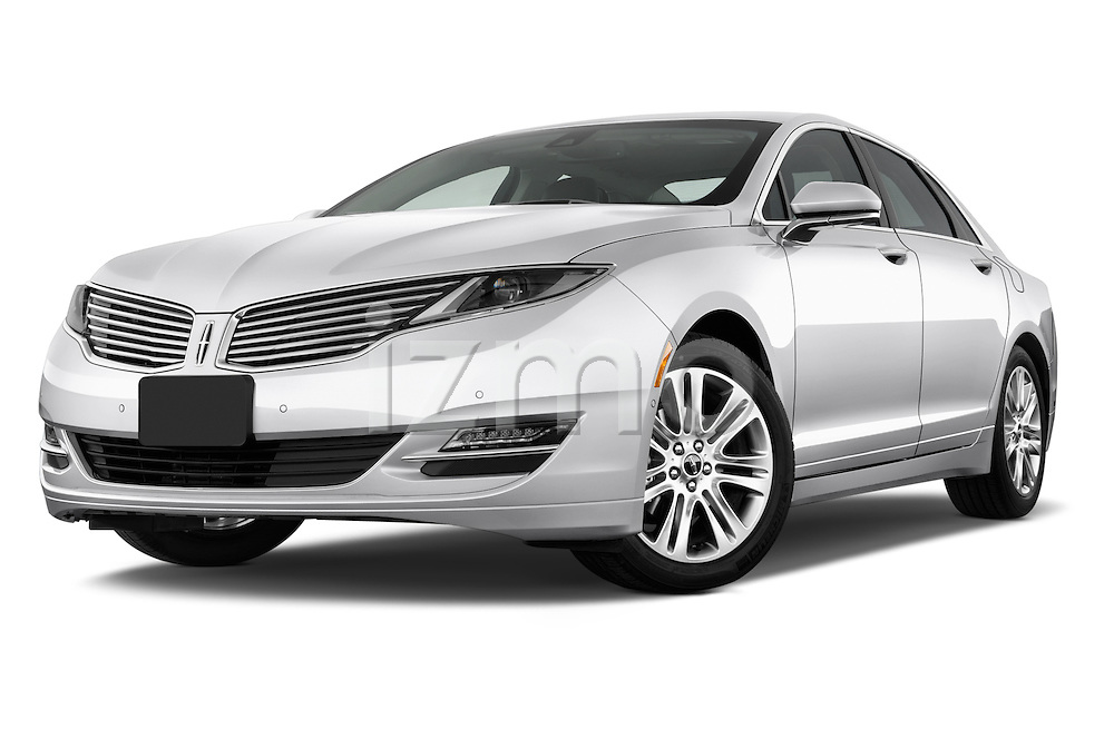 Low aggressive front three quarter view of a 2013 Lincoln MKZ Hybrid Sedan