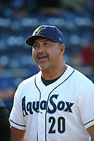 Everett AquaSox Manager Jose Moreno (20) before a game against the Boise Hawks at Everett Memorial Stadium on July 20, 2017 in Everett, Washington. Everett defeated Boise, 13-11. (Larry Goren/Four Seam Images)