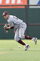 Arizona State Sun Devil shortstop Deven Marrero #17 makes an error against the Texas Longhorns in NCAA Tournament Super Regional baseball on June 10, 2011 at Disch Falk Field in Austin, Texas. (Photo by Andrew Woolley / Four Seam Images)