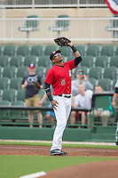 Kannapolis Intimidators first baseman Tyler Williams (8) catches a pop fly during the game against the Hickory Crawdads at CMC-Northeast Stadium on April 17, 2015 in Kannapolis, North Carolina.  The Crawdads defeated the Intimidators 9-5 in game one of a double-header.  (Brian Westerholt/Four Seam Images)