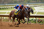 DEL MAR,CA-SEPTEMBER 03: Miss Sunset #4,ridden by Mike Smith, wins the C.E.R.F. Stakes at Del Mar Race Track on September 3,2018 in Del Mar,California (Photo by Kaz Ishida/Eclipse Sportswire/Getty Images)