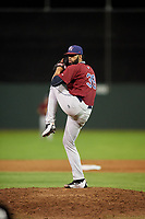 Mahoning Valley Scrappers relief pitcher Jean Carlos Mejia (36) delivers a pitch during a game against the Batavia Muckdogs on August 29, 2017 at Dwyer Stadium in Batavia, New York.  Batavia defeated Mahoning Valley 2-0.  (Mike Janes/Four Seam Images)