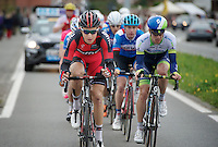 Taylor Phinney (USA/BMC) as part of the early breakaway group with Daryl Impey (ZAF/Orica-GreenEDGE) coming up next to him<br /> <br /> Ronde van Vlaanderen 2014