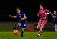 Stefania Vatafu (10) of Anderlecht pictured in action with Ylenia Carabott (7) of Sporting Charleroi  during a female soccer game between RSC Anderlecht Dames and Sporting Charleroi on the 13 th matchday of the 2020 - 2021 season of Belgian Womens Super League , friday 5 th of February 2021  in Tubize , Belgium . PHOTO SPORTPIX.BE | SPP | DAVID CATRY
