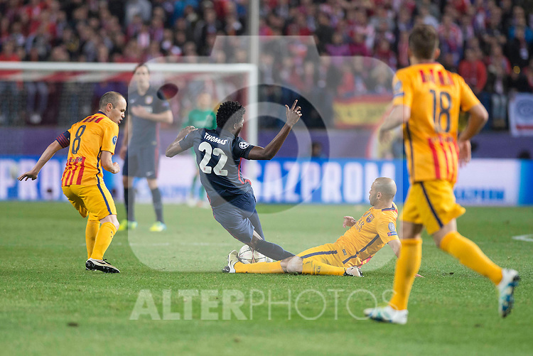 Atletico de Madrid's Thomas Partey and FC Barcelona Andres Iniesta and Mascherano during Champions League 2015/2016 Quarter-Finals 2nd leg match. April 13, 2016. (ALTERPHOTOS/BorjaB.Hojas)