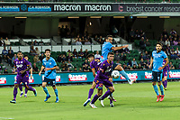 24th March 2021; HBF Park, Perth, Western Australia, Australia; A League Football, Perth Glory versus Sydney FC; Perth's players Joshua Rawlins and Jonathan Aspropotamitis defend against Sydney's Bobo