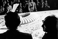 January 17, 1974 File Photo -  Jean Drapeau , Mayor of Montreal and Lucien Saulnier and the Montreal Olympic Stadium mock up.<br /> <br /> The stadium was designed by French architect Roger Taillibert for the 1976 summer Olympics