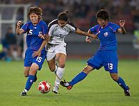 Ayumi Hara, Mizuho Sakaguchi, Shannon Boxx. The USWNT defeated Japan, 4-2, during the semi-finals of the Beijing 2008 Olympics in Beijing, China.