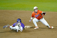 Chad Fairey (11) of the Clemson Tigers slides into second base as Blake Wright (8) takes the throw in a fall Orange-Purple intrasquad scrimmage on Friday, November 13, 2020, at Doug Kingsmore Stadium in Clemson, South Carolina. (Tom Priddy/Four Seam Images)