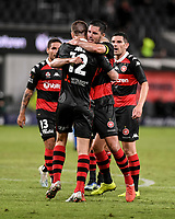 19th March 2021; Bankwest Stadium, Parramatta, New South Wales, Australia; A League Football, Western Sydney Wanderers versus Perth Glory; Mitch Duke is congratulated by Dylan McGowan of Western Sydney Wanderers after he scores in the 47th minute to make it 1-0