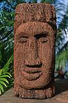 Indian sculpture  in a giant fern<br /> <br /> <br /> <br /> Sculpture indienne dans un tronc de fougere geante. Ile de la Dominique.