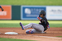 Jupiter Hammerheads Victor Mesa Jr. (10) slides into third base after hitting a triple during a game against the Lakeland Flying Tigers on July 30, 2021 at Joker Marchant Stadium in Lakeland, Florida.  (Mike Janes/Four Seam Images)