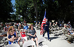 Members of the Nevada Air Guard NCO Academy Graduates Association perform the five flag ceremony during the annual Flag Day ceremony at the Nevada Veterans Memorial on the Capitol grounds in Carson City, Nev., on Friday, June 14, 2019. <br /> Photo by Cathleen Allison/Nevada Momentum