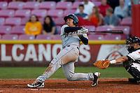 Wilfredo Rodriguez #3 of the Tri-City Dust Devils bats against the Salem-Keizer Volcanoes at Volcanoes Stadium on July 27, 2013 in Keizer, Oregon. Tri-City defeated Salem-Keizer, 5-4. (Larry Goren/Four Seam Images)