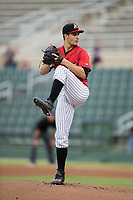 Kannapolis Intimidators starting pitcher Dylan Cease (2) in action against the Columbia Fireflies at Kannapolis Intimidators Stadium on July 23, 2017 in Kannapolis, North Carolina.  The Fireflies defeated the Intimidators 3-1.  (Brian Westerholt/Four Seam Images)