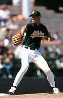 Mark Mulder of the Oakland Athletics during a Spring Training game at Phoenix Municipal Stadium circa 1999 in Phoenix, Arizona. (Larry Goren/Four Seam Images)