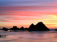 Sunset at low tide. Seal Rock, Oregon
