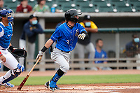 Biloxi Shuckers shortstop Brice Turang (2) at bat against the Tennessee Smokies on May 18, 2021, at Smokies Stadium in Kodak, Tennessee. (Danny Parker/Four Seam Images)