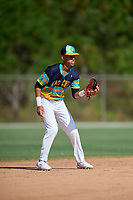 Kristian Campbell during the WWBA World Championship at the Roger Dean Complex on October 19, 2018 in Jupiter, Florida.  Kristian Campbell is a shortstop from Marietta, Georgia who attends Milton High School and is committed to Georgia Tech.  (Mike Janes/Four Seam Images)