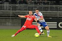 Yohan Mollo (nancy) vs Anthony Reveillere (lyon)  .Football Calcio 2012/2013.Ligue 1 Francia.Foto Panoramic / Insidefoto .ITALY ONLY
