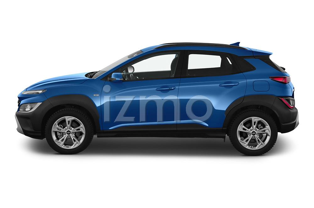 Car Driver side profile view of a 2021 Hyundai Kona Techno 5 Door SUV Side View