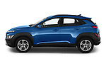 Car Driver side profile view of a 2021 Hyundai Kona Techno 5 Door SUV Side View