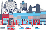 Montage of landmarks in a city, London, England