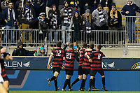 Chester, PA - Friday December 08, 2017: Foster Langsdorf celebrates scoring prior to a NCAA Men's College Cup semifinal soccer match between the Stanford Cardinal and the Akron Zips at Talen Energy Stadium.