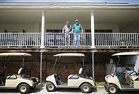 Brothers and co-owners Don and Bobby Rountree pose for a portrait, Monday, April 26, 2021 at the Prairie Creek golf course in Rogers. The Prairie Creek golf course is closing after 50 years of ownership in the Rountree family. Check out nwaonline.com/210427Daily/ for today's photo gallery. <br /> (NWA Democrat-Gazette/Charlie Kaijo)