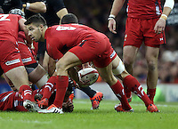 Pictured: Mike Phillips of Wales passing the ball Saturday 22 November 2014<br />