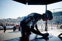 Martin Velits (SVK/Etixx-QuickStep) signing in<br /> <br /> 3 Days of West-Flanders 2015<br /> stage 2: Nieuwpoort - Ichtegem 184km