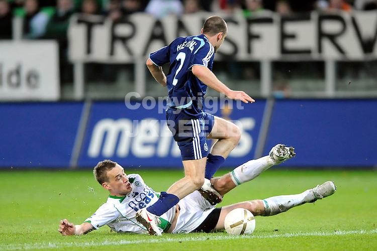 voetbal fc groningen - ajax erediivisie seizoen 2007-2008 16-04-2008  .marnix kolder met johnny heitinga.fotograaf Jan Kanning