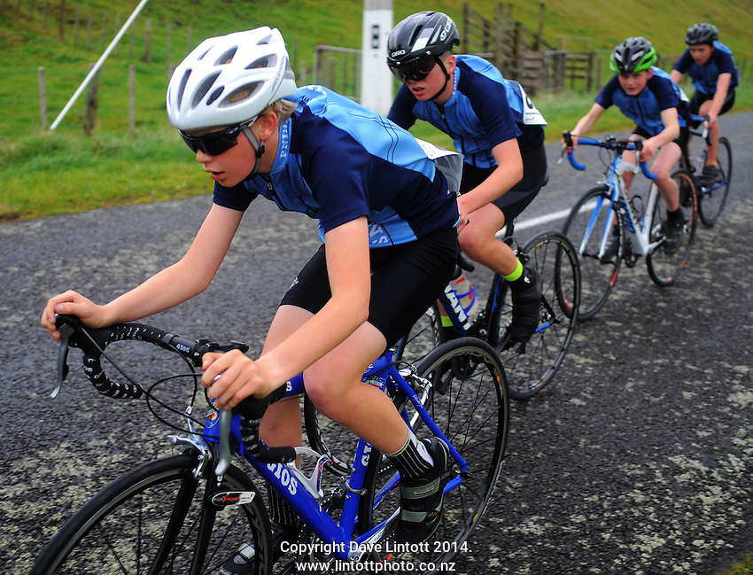 Palmerston North Intermediate year 7 and 8 boys in action during the NZ Schools Road Cycling championship day one time trials at Koputaroa Road, Levin, New Zealand on Saturday, 27 September 2014. Photo: Dave Lintott / lintottphoto.co.nz
