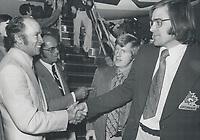 Prime Minister<br /> Pierre Trudeau<br /> Team Canada - Players - Homecoming<br /> <br /> Photo : Boris Spremo - Toronto Star archives - AQP