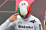 Giacomo Nizzolo (ITA) Team Qhubeka Assos sporting a helmet painted from Ekoi with an Italian self-declaration form, justifying travel from city to city for stage-hunting purposes, at sign on before the start of Stage 2 of the 2021 Giro d'Italia, running 179km from Stupinigi (Nichelino) to Novara, Italy. 9th May 2021.  <br /> Picture: LaPresse/Gian Mattia D'Alberto | Cyclefile<br /> <br /> All photos usage must carry mandatory copyright credit (© Cyclefile | LaPresse/Gian Mattia D'Alberto)