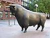 Bull in front of the stock market in Frankfurt on the Main - symbol for the up at the financial market<br /> <br /> Toro en Fráncfort del Meno - símbolo para el arriba en el mercado financiero<br /> <br /> Bulle vor der Frankfurter Börse - Symbol für das Auf am Finanzmarkt<br /> <br /> 1600 x 1200 px<br /> 150 dpi: 27,09 x 20,32 cm<br /> 300 dpi: 13,55 x 10,16 cm