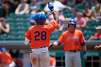 Syracuse Mets Rymer Liriano (28) points to the sky after hitting a home run during an International League game against the Indianapolis Indians on July 17, 2019 at Victory Field in Indianapolis, Indiana.  Syracuse defeated Indianapolis 15-5  (Mike Janes/Four Seam Images)
