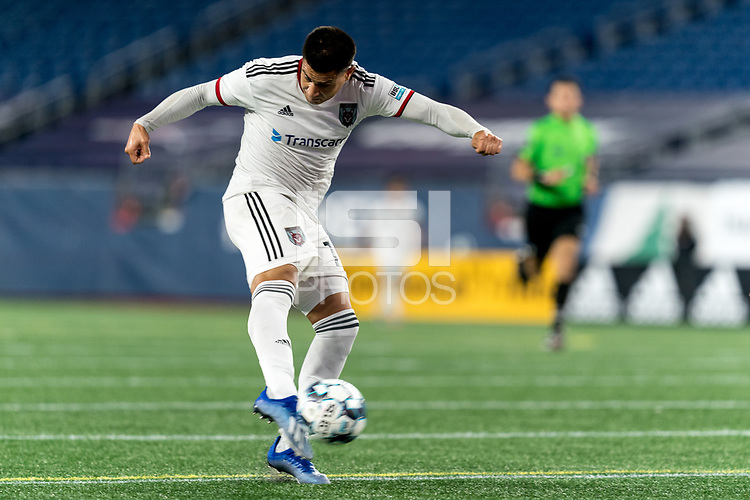 FOXBOROUGH, MA - SEPTEMBER 09: Ricardo Zacarias #19 of Chattanooga Red Wolves SC takes a shot during a game between Chattanooga Red Wolves SC and New England Revolution II at Gillette Stadium on September 09, 2020 in Foxborough, Massachusetts.