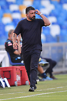 Gennaro Gattuso of SSC Napoli reacts during the Serie A football match between SSC  Napoli and SPAL at stadio San Paolo in Naples ( Italy ), June 28th, 2020. Play resumes behind closed doors following the outbreak of the coronavirus disease. <br /> Photo Carmelo Imbesi / Insidefoto
