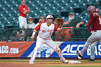 Brian Dempsey (6) of the Boston College Eagles beats the throw to Stephen Pitarra (7) of the North Carolina State Wolfpack in Game Two of the 2017 ACC Baseball Championship at Louisville Slugger Field on May 23, 2017 in Louisville, Kentucky. The Wolfpack defeated the Eagles 6-1. (Brian Westerholt/Four Seam Images)