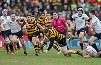 Friday 17th March 2017 | ULSTER SCHOOLS CUP FINAL<br /> <br /> Callum Reid is tap tackled by Thomas Gallagher during the Ulster Schools Cup Final between RBAI and MCB at Kingspan Stadium, Ravenhill Park, Belfast, Northern Ireland.<br /> <br /> Photograph by John Dickson | www.dicksondigital.com