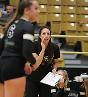 Michelle Smith head volleyball coach of Bentonville on Thursday, Oct.  7, 2021, during play at Tiger Arena in Bentonville. Visit nwaonline.com/211008Daily/ for today's photo gallery.<br /> (Special to the NWA Democrat-Gazette/David Beach)