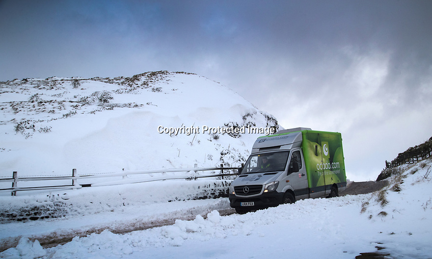 17/01/18<br /> <br /> An Ocado delivery van makes its way over Mam Tor in the Derbyshire Peak District near Castleton..<br /> <br /> All Rights Reserved F Stop Press Ltd. +44 (0)1335 344240 +44 (0)7765 242650  www.fstoppress.com