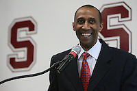 STANFORD, CA - APRIL 28:  Stanford Cardinal men's basketball head coach Johnny Dawkins speaks to the media during a press conference on April 28, 2008 at Kissick Auditorium in Stanford, California. (Photo by David Gonzales/Stanford via Getty Images)