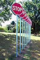 Row of Stop Signs Public Art - Artist's Display of Urban Artwork